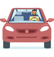 Man driving the red car vector image