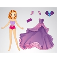 Paper Princess In Purple Dress vector image vector image