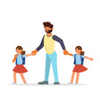parents and children go to school together vector image vector image
