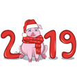 pig among text 2019 vector image vector image