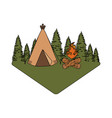 pines trees forest scene with campfire and tent vector image