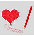 primed heart and pencil vector image vector image