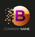 purple letter b logo symbol in golden pixel circle vector image vector image
