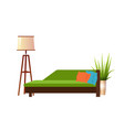 realistic green sofa with floor lamp and flowerpot vector image vector image