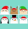 santa claus elf raindeer deer snowman bear vector image vector image