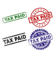 scratched textured tax paid stamp seals vector image