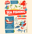sea fishing sport ship and information vector image vector image