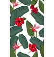 seamless pattern banana leaves with red hibiscus vector image