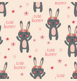 seamless pattern with cute rabbits and flowers vector image vector image
