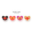set of heart shaped gift box with bow and texture vector image vector image