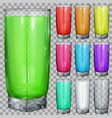 set of transparent glasses with multicolored drink vector image vector image