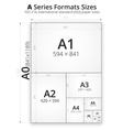 Size of format A paper sheets vector image vector image