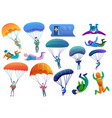 skydivers icons set cartoon style vector image vector image
