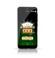 smartphone showing the game casino online highly vector image vector image