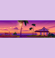 summer tropical landscape with bungalow at sunset vector image