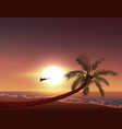 sunset on tropical island sun sets in ocean vector image vector image