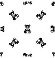 teddy bear holding a heart pattern seamless black vector image vector image