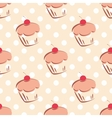 Tile cupcake and polka dots vackground vector image vector image
