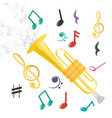 trumpet instrument with musical notes vector image vector image