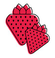 two strawberry fruit healthy food diet vector image vector image