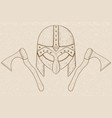 viking helmet and axes hand drawn sketch on beige vector image vector image