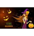 Witch in Halloween Night vector image vector image