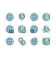 world map global icons set line filled vector image