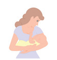 young mother holding her newborn child to feeding vector image vector image