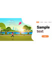 young woman launching kite outdoors modern public vector image
