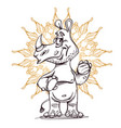cute rhinoceros standing with ornament vector image