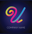 u letter logo icon blending color vector image