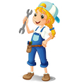 A girl holding a tool vector image