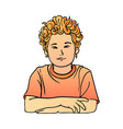 a schoolboy with red curly hair in t-shirt quietly vector image