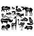 animals for baby silhouettes isolated wild vector image vector image