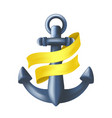 antique blue metal maritime anchor with yellow vector image