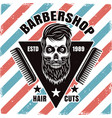 barbershop emblem with bearded skull and combs vector image