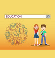 boy and girl with education search engine bar vector image vector image