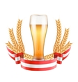 Brewery Label with light beer glass and ribbon vector image vector image
