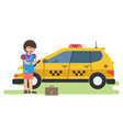 business woman calls a taxi by phone vector image vector image