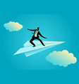 businessman balancing on paper plane vector image vector image