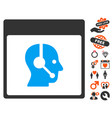 call center operator calendar page icon with vector image vector image