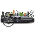 car dashboard with spare parts vector image