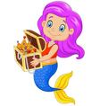 Cartoon happy mermaid holding treasure chest vector image