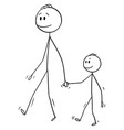 cartoon man or father walking together vector image vector image