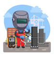 cartoon welder at a construction site vector image
