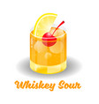 cocktail whiskey sour vector image vector image