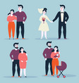 couple in various situations of relationship vector image
