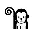 cute monkey wild icon vector image vector image