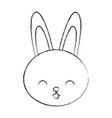 cute sketch draw rabbit cartoon vector image vector image