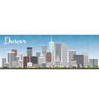 Denver Skyline with Gray Buildings and Blue Sky vector image vector image